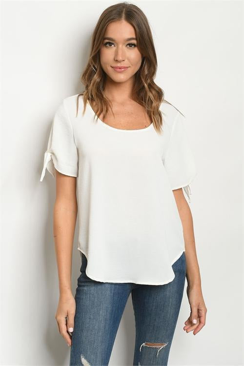 Tie Sleeve Scoop Neck Ivory Top - RMC Boutique