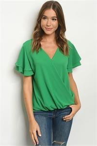 Ruffle Sleeve Kelly Green Top - RMC Boutique