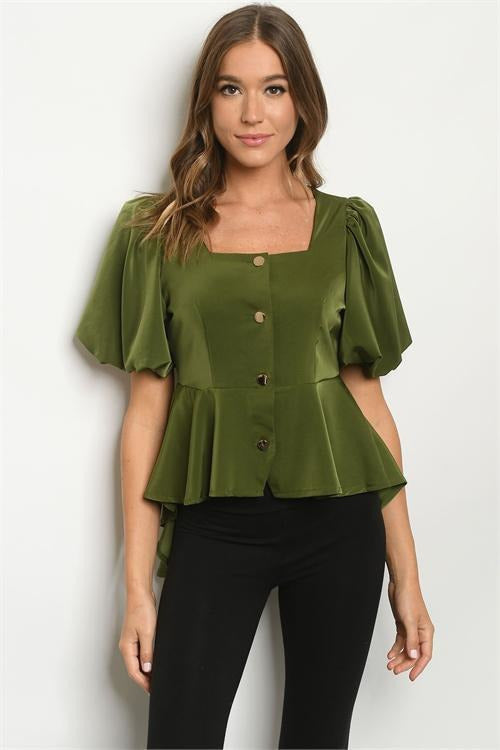 Festive Flair Peplum High Top, Olive Green - RMC Boutique