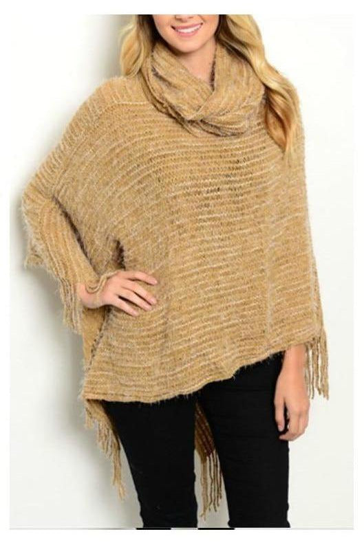 Cabin Cozy, Tan Poncho - RMC Boutique  - 1