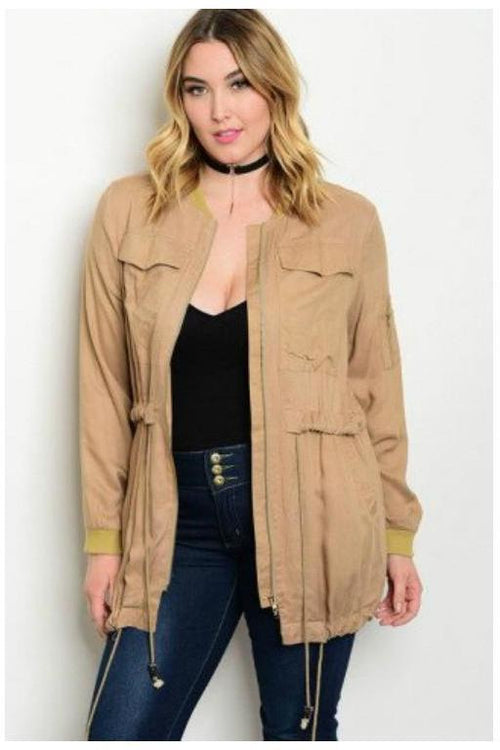 Cargo Utility Jacket, Tan, Plus Size - RMC Boutique  - 1