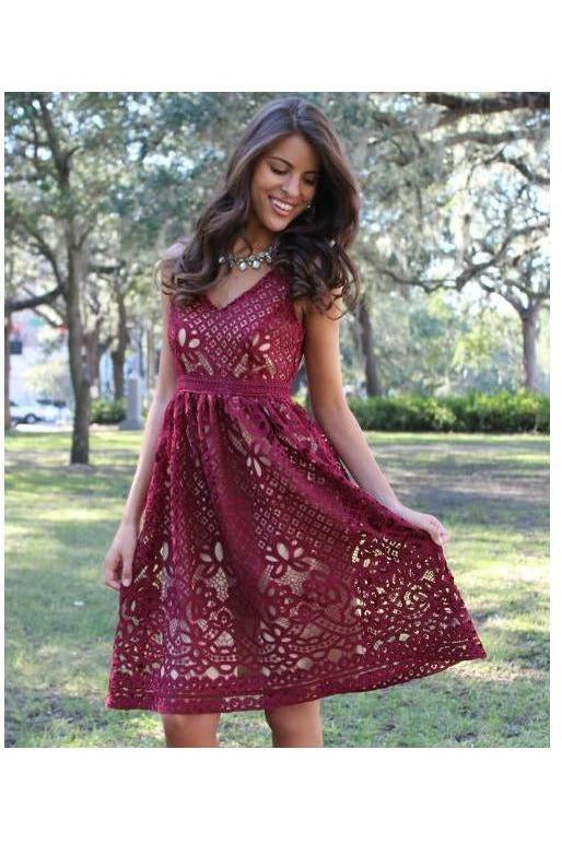 Champagne & Strawberry: Lace Burgundy Dress - RMC Boutique  - 1