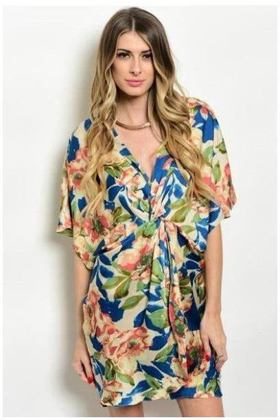 Charming Oasis Rose and Navy Dress - RMC Boutique
