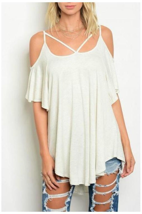 Cold Shoulder Criss Cross Top, White