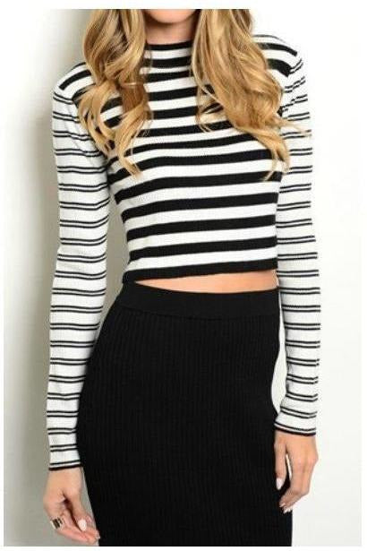 Contrasting Stripes Long Sleeve Crop Top - RMC Boutique