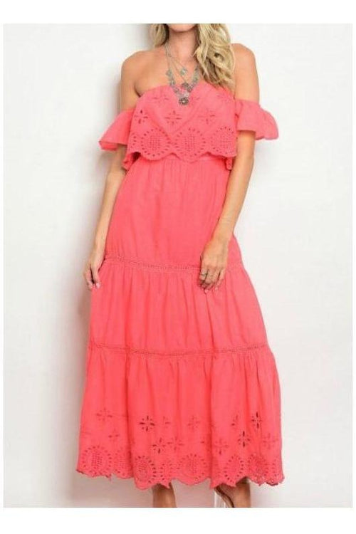 Coral Off Shoulder Ruffle Eyelet Maxi Dress