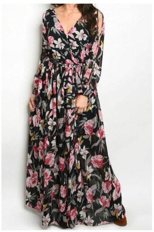 Country Side Escape,Black Floral Maxi Dress