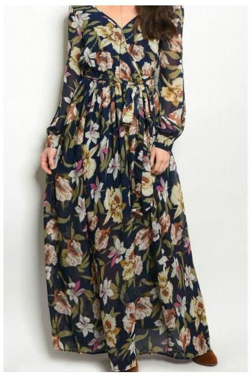 Country Side Escape, Navy Floral Maxi Dress - RMC Boutique