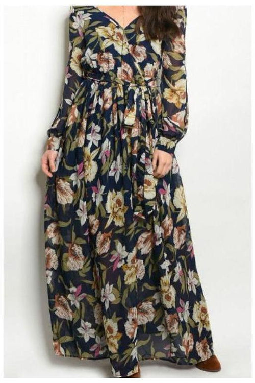 Country Side Escape, Navy Floral Maxi Dress