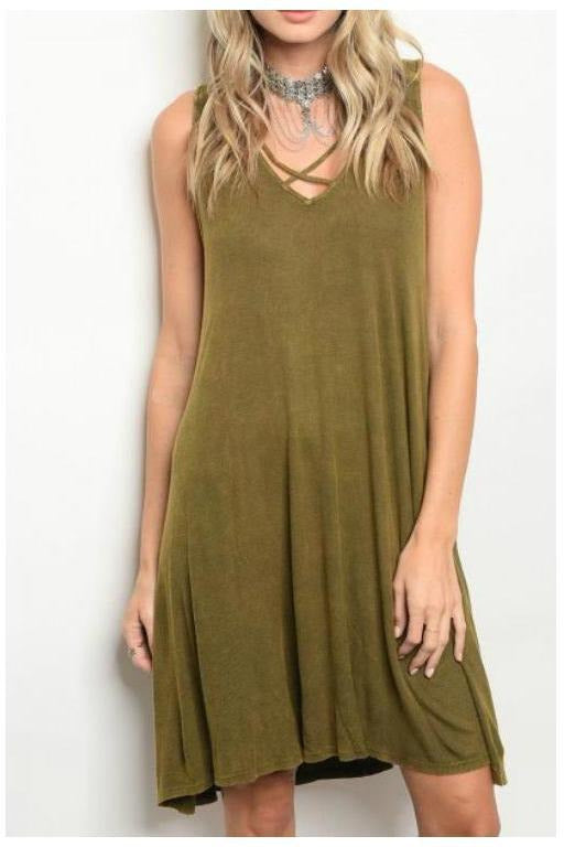 Criss Cross Acid Wash Ribbed Dress, Olive