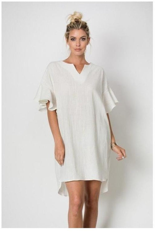 Caitlin's Ruffled Sleeve Tunic Dress, Ivory - RMC Boutique