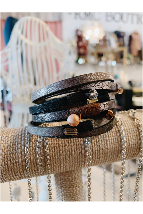 Boho Metallic Leather Wrap Bracelet