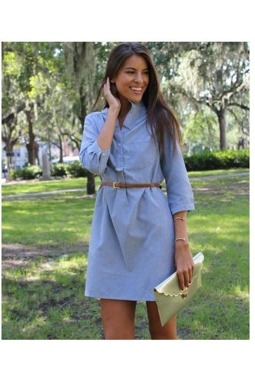 Button Up Shirt Dress, Blue - RMC Boutique  - 1