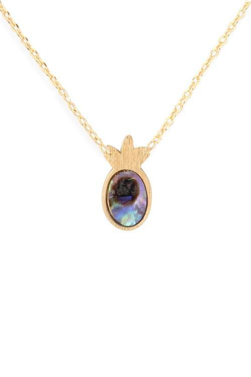 Dainty Pineapple W Abalone Stone Necklace - RMC Boutique
