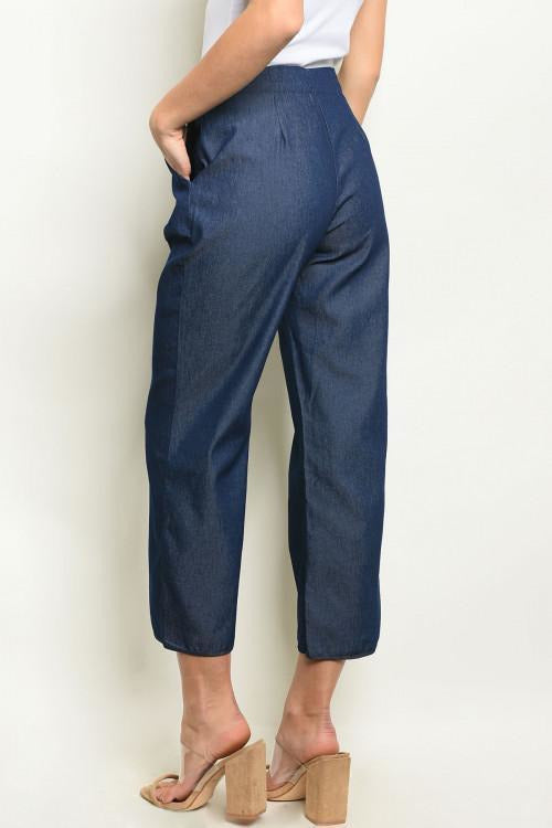 High Rise Cropped Wide Leg Chambray Pants