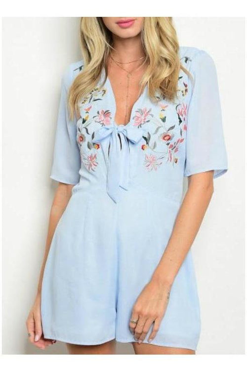 Divine Detail, Embroidered Romper, Dusty Blue