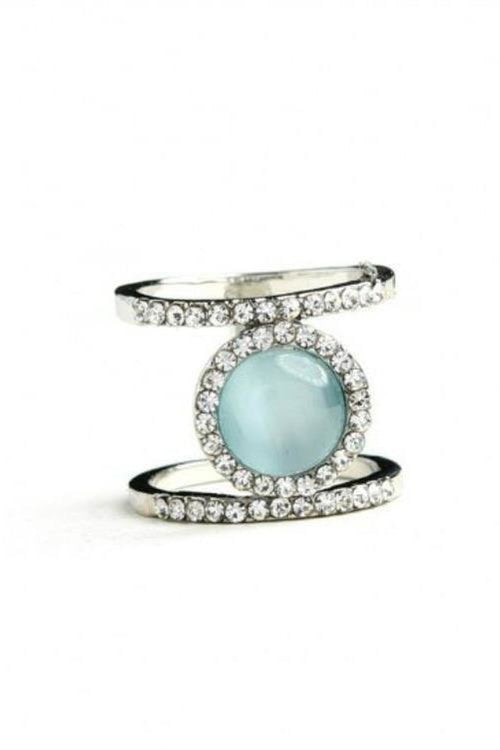 Double Halo Cocktail Ring, Dusty Sky Blue