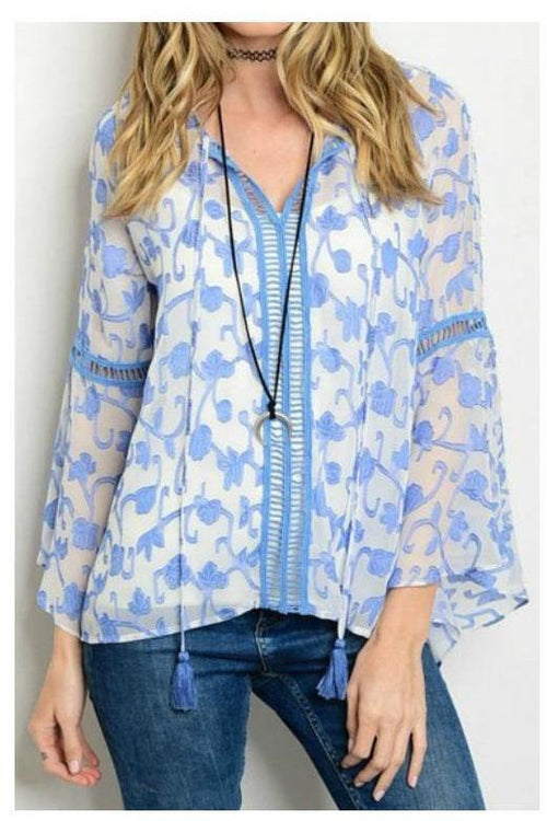 Dreamy Dusty Blue Bell Sleeve Top