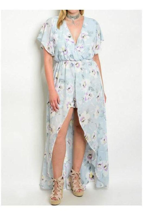 Dusty Blue Floral Romper Maxi Dress