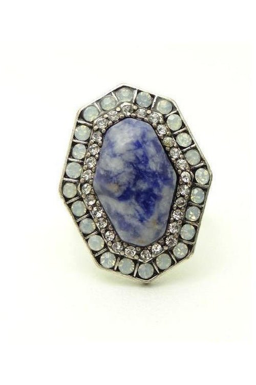 Dusty Blue Marble Statement Ring - RMC Boutique