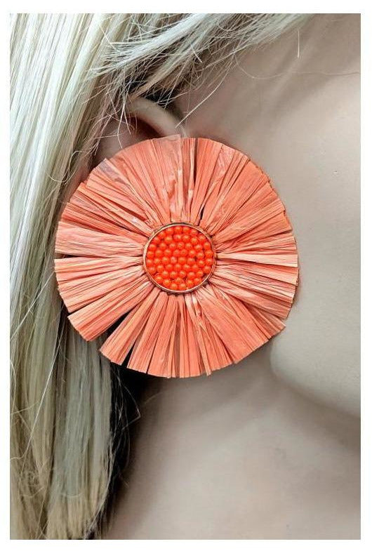 Full Bloom Rafia Straw Statement Earrings - RMC Boutique