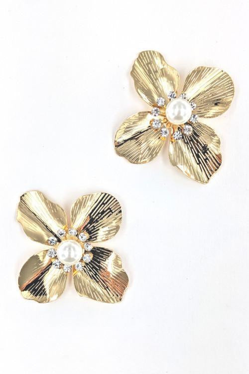 Gold Petal And Pearl Studs - RMC Boutique