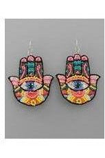 Beaded & Sequin Hamsa Earrings