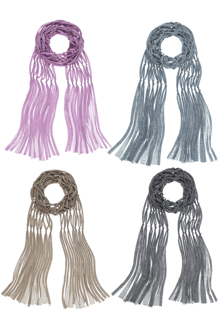 Knotted Fringe Scarf, Assorted Colors