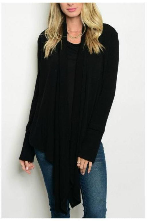 Effortless and Comfy Long Knit Cardigan,Black