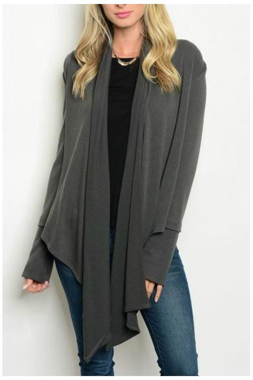 Effortless and Comfy Long Knit Cardigan, Dark Gray