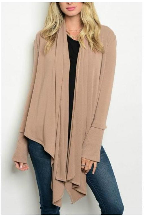 Effortless and Comfy Long Knit Cardigan, Mocha