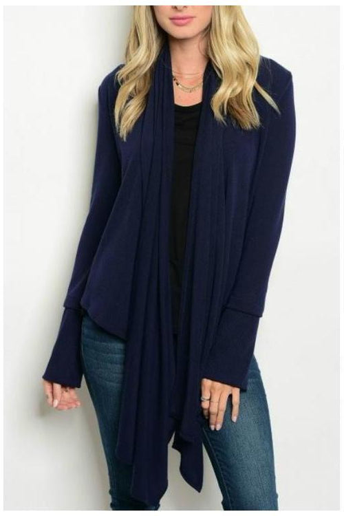 Effortless and Comfy Long Knit Cardigan, NAVY