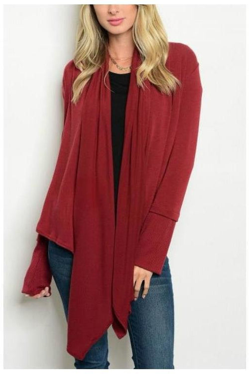 Effortless and Comfy Long Knit Cardigan, WINE
