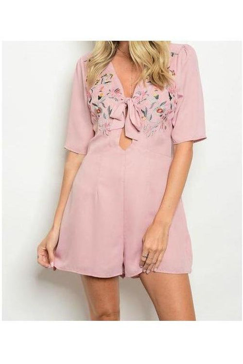 Divine Detail, Embroidered Romper, Dusty Blush