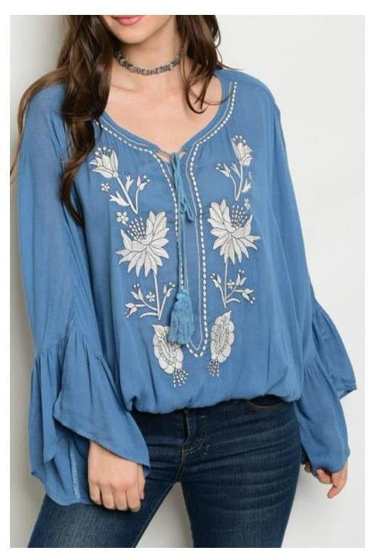 Escape With Me, Embroidered Top, Dusty Blue
