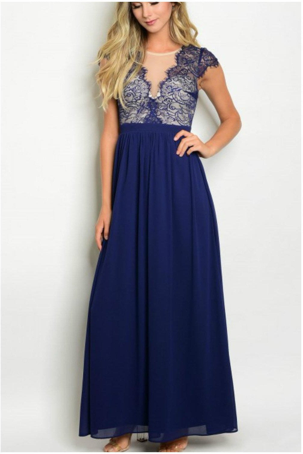 Evas Charmed  And Carefree Gown, Blue - RMC Boutique