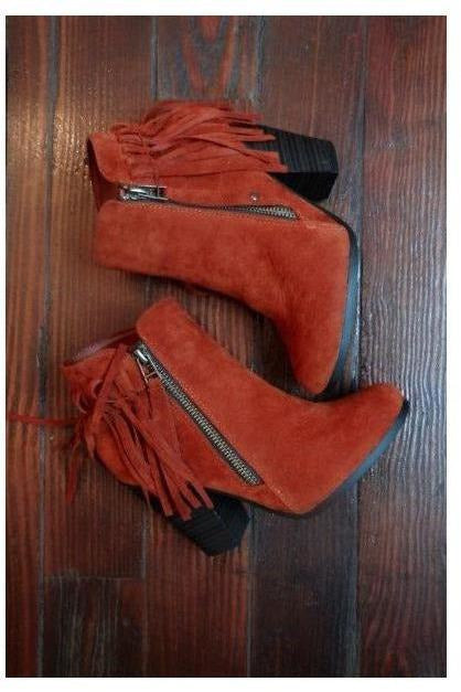 Fantastic Fringe Bootie in Rustic Orange Crush - RMC Boutique