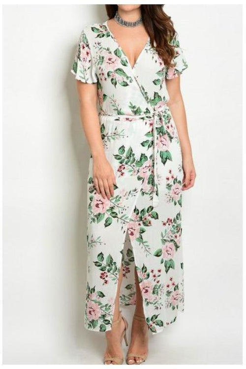 Floral Ivory Wrap Maxi Dress, Plus Size