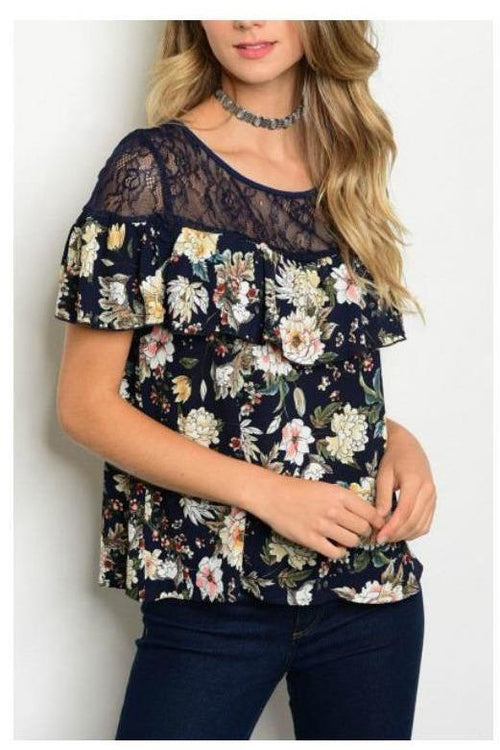 Floral Lace And Love Ruffle Top Navy Top