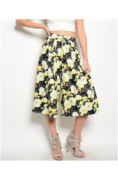 Floral Print Pleated Gaucho Pants - RMC Boutique