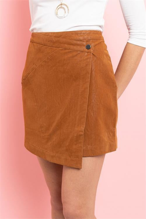 Front Flap Faux Leather Skirt , Camel - RMC Boutique