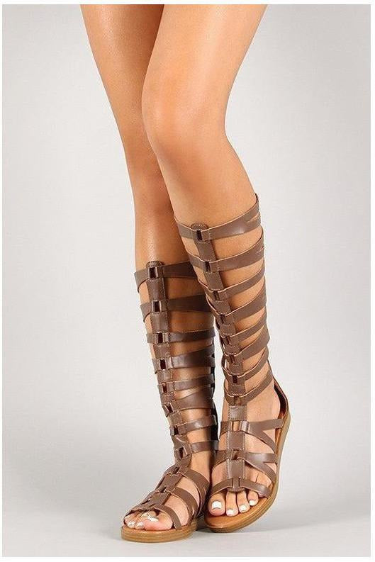 Taupe Leatherette Gladiator Sandals - RMC Boutique
