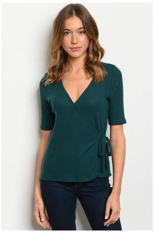 In The Know, Hunter Green Ribbed Top