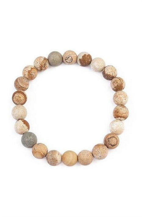 LCT Brown 8mm NATURAL BEAD STRETCH BRACELET - RMC Boutique