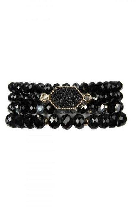 BLACK DRUZY STONE HEXAGON GLASS BEADS BRACELET - RMC Boutique