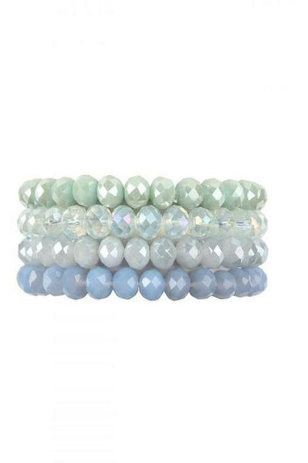 MINT FOUR LINE CRYSTAL BEADS STRETCH BRACELET - RMC Boutique
