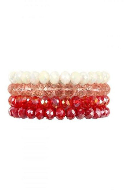 RED FOUR LINE CRYSTAL BEADS STRETCH BRACELET - RMC Boutique