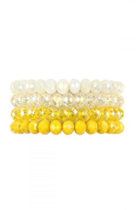 YELLOW FOUR LINE CRYSTAL BEADS STRETCH BRACELET - RMC Boutique