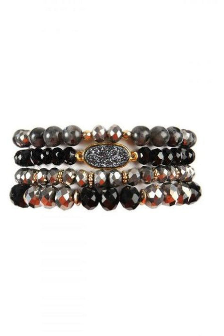BLACK DRUZY OVAL MIXED BEADS BRACELET SET - RMC Boutique
