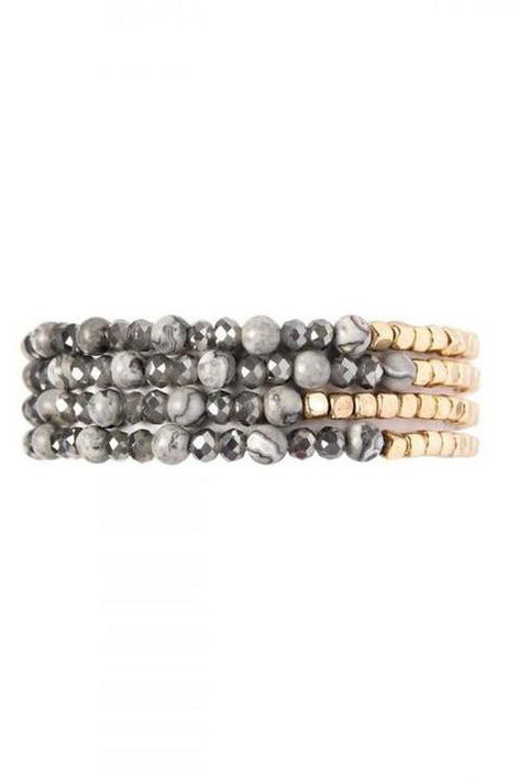 BLACK BRASS, STONE, GLASS FOUR SET BEADS BRACELET - RMC Boutique